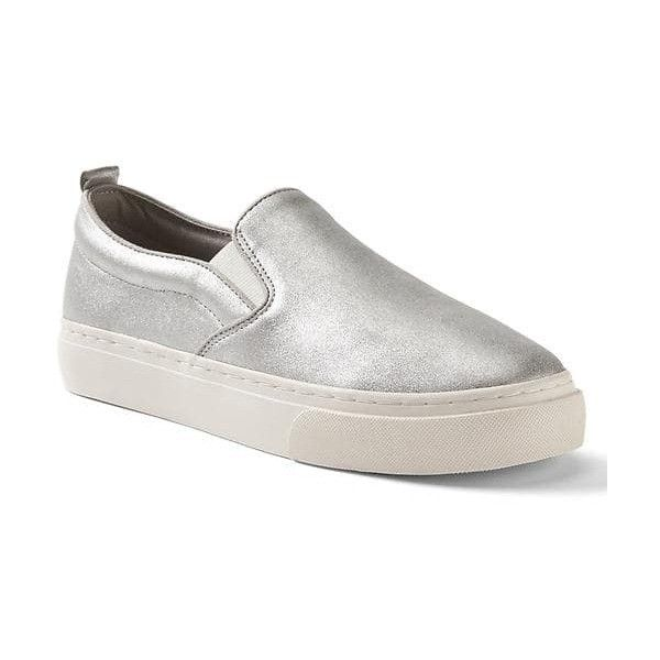 Gap Women Leather Slip On Sneakers ($37) ❤ liked on Polyvore featuring shoes, sneakers, regular, silver, leather slip-on shoes, leather trainers, genuine leather shoes, round cap and round toe sneakers