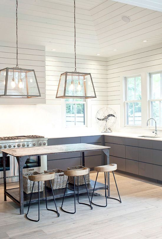 Home Decorators Collection! On trend: ship lap walls. Gold pendant lamps with grey details, rustic wood tones and stainless steel. Great selection of pendant lamps, rugs, and accessories to spruce up any kitchen space. Find items like these for great prices on Home Decorators.