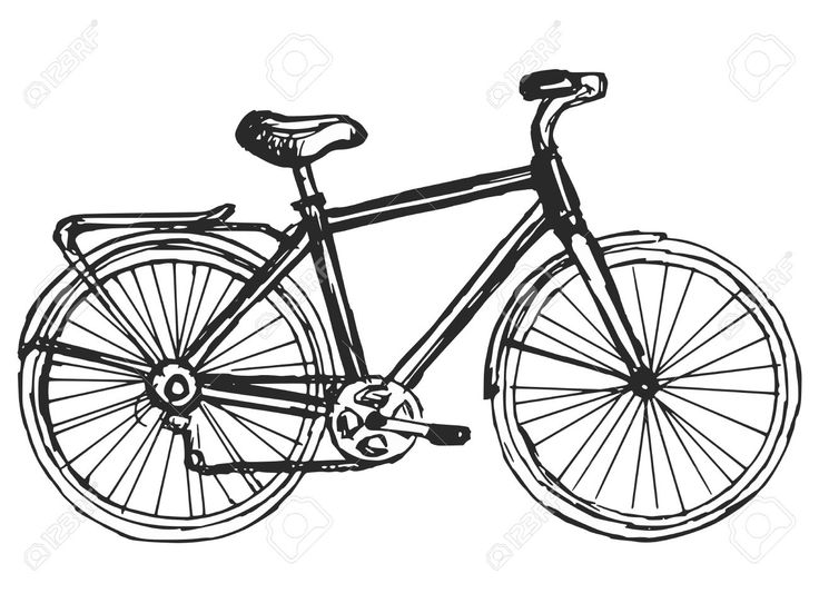 Hand Drawn, Sketch, Cartoon Illustration Of Bicycle Royalty Free ...