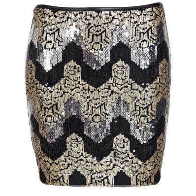 Mooi mini rokje met gouden, zilveren en zwarte pailletten.