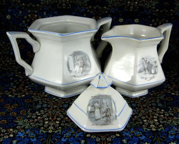 Antique Courtship Of Miles Standish Cream and Sugar Sterling USA @1900 blue and white by AntiquesAndTeacups, $38.00