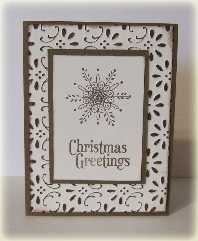Christmas Card:  made with embossing fold & inked with an brayer