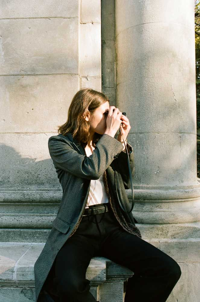 Olga Nazarova wears AW14 DM  Charcoal Long Coat, Mens Trouser,  Boxer T, and Femme Blouse  shot by Ami Sioux  www.davidmichael.us