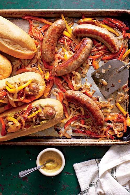Recipe: Bratwurst with Peppers and Onions - By the Editors of Southern Living