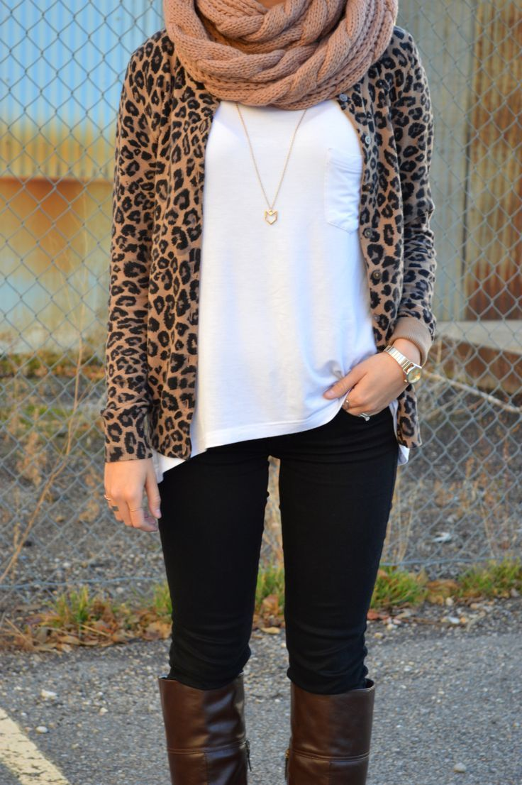 Leopard print cardigan, leggings, and infinity scarf.