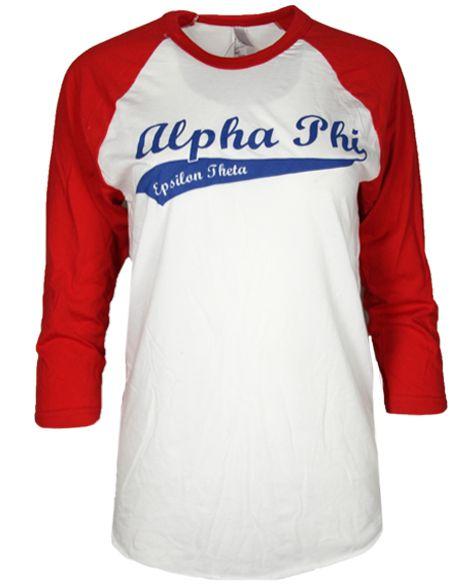 Alpha Phi Baseball Tee By Adam Block Design