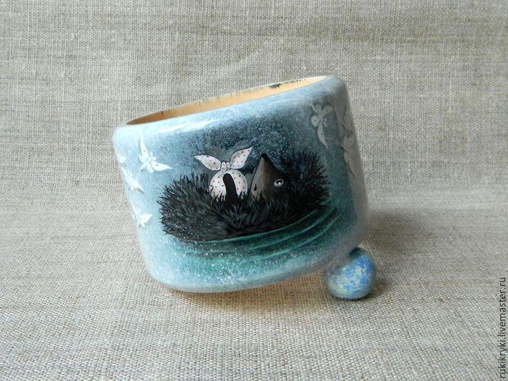 Купить Однажды в тумане... браслет - голубой, серый, серо-голубой, мультфильм, туман, Роспись по дереву
