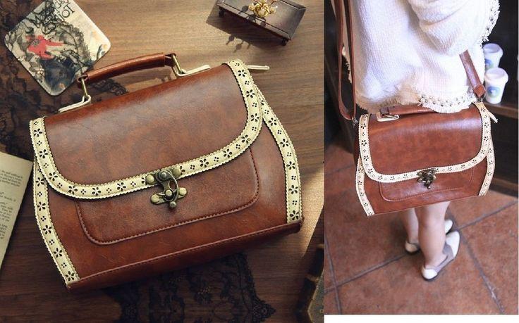 Women Fashion Messenger Bag Vintage Preppy Style Portable Handbag Faux Leather