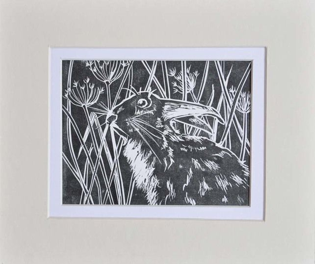 Original Lino print - March Hare £20.00