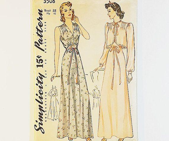 40er Jahre Nachthemd Muster  Einfachheit 3508 von GraziosaVintage
