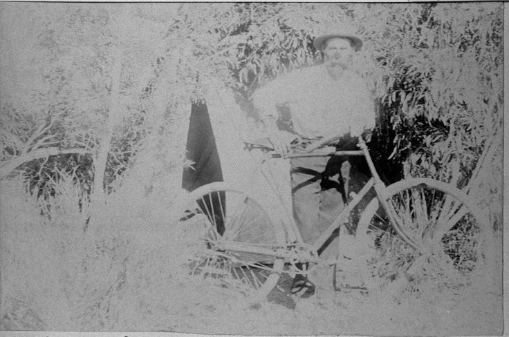 066403PD: John Mason with a bicycle in the bush at Balladonia, 1897 http://encore.slwa.wa.gov.au/iii/encore/record/C__Rb3805035?lang=eng
