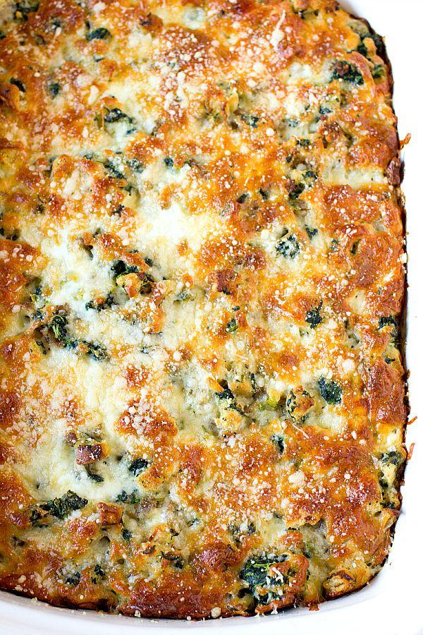 Cheesy Sausage Spinach Breakfast Casserole~ to make vegetarian, I will just use veggie sausage or chorizo.