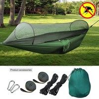 Outdoor Camping Hammock Tent with Mosquito Net with 2 Tree Straps and Hooks and Ropes