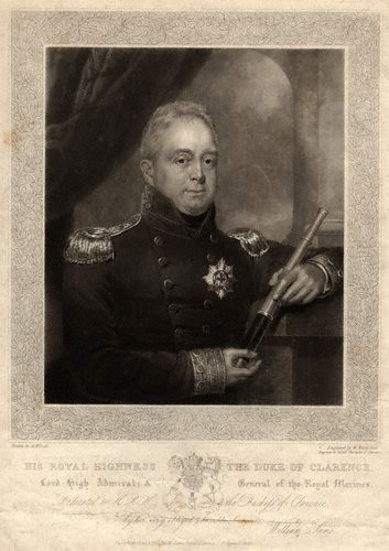 King William IV 1765-1837 By William James Ward 1827. Spouse: Adelaide, daughter of Duke of Saxe-Meinigen 11 Jul 1818. 4 children: All 4 died as infants. Father: George III. Mother: Charlotte of Mecklenburg-Strelitz. The third son of George III younger brother successor to George IV after his 2nd brother Frederick's death. He became King at age 64. He had 10 illegitimate 0 legitimate children.