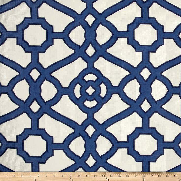 P Kaufmann Indoor/Outdoor Pavilion Fretwork Navy Fabric