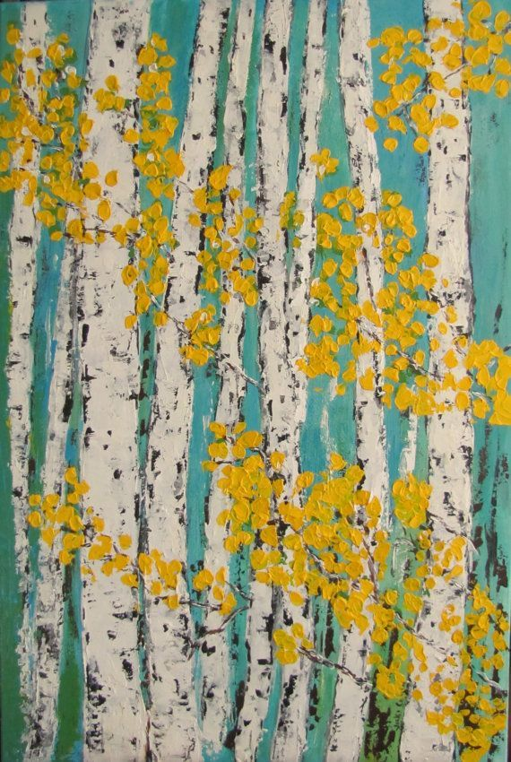 Inspiration...Want to do as a background to the wall of book cases! Aspen/Birch Trees Acrylic Painting Original Art on by VickisArt, $205.00