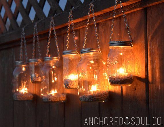 Mason Jar Lanterns Hanging Tea Light Luminaries - Set of 6 - Silver Chain - Regular Mouth Mason Jar Style Perfect for Country Style Weddings