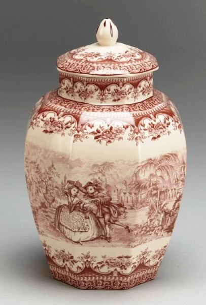GINGER JAR Romantic Couple Red Toile Transferware