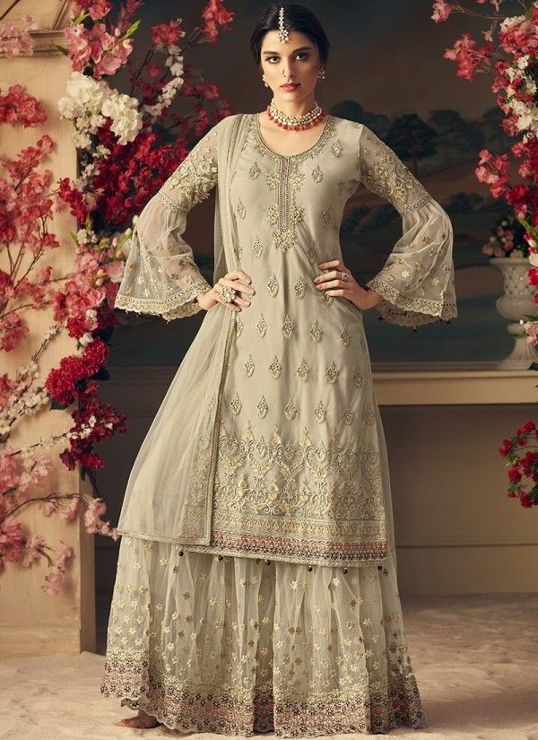 84403d48763f8 Beige Bling Multi Embroidered Flared Sharara Suit in 2019 | Designer ...