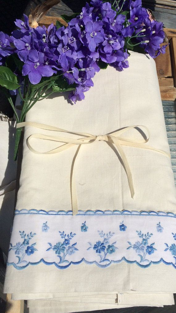 Large French Linen Vintage Metis Flat Bed Sheet 93 by TheLinenLady