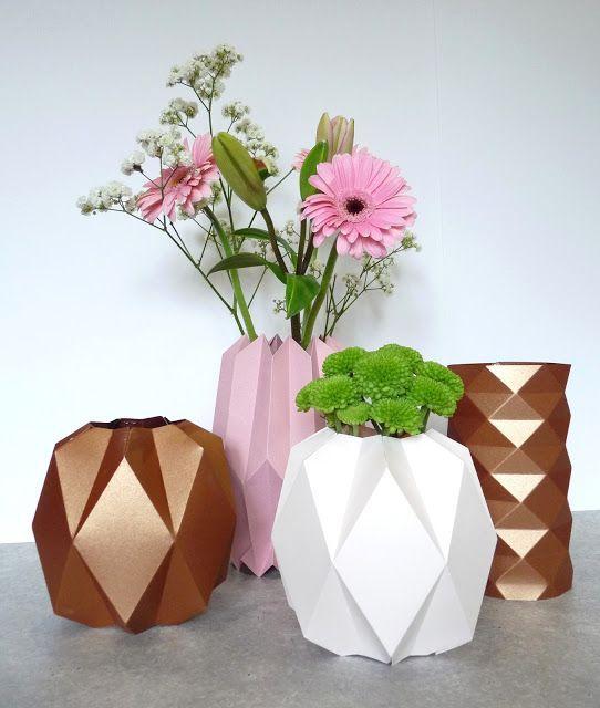 DIY vase origami, DIY cache pot origami, DIY cuivre, DIY pastel, déco pastel, déco cuivre, vase pastel, vase cuivre, tuto vase origami, gabarit vase origami, gabarit pliage cache pot, rue rivoirette