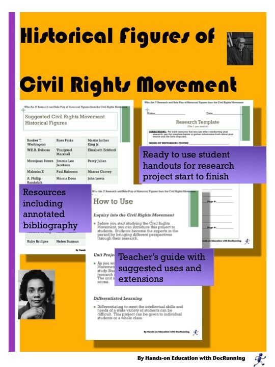 an overview of prominent figures of the civil rights movement The purpose of the civil rights movement was to establish equal rights for african americans, says historycom an incident on a bus started the protest in december 1955, an african american women named rosa parks refused to give her seat to a white person.