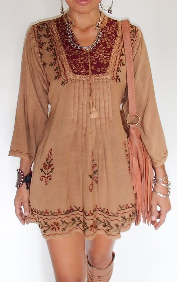 Light Brown Boho Indian Tunic Dress with Silk Embroidery on Batik With Smock…