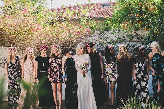 bridesmaids in floral prints