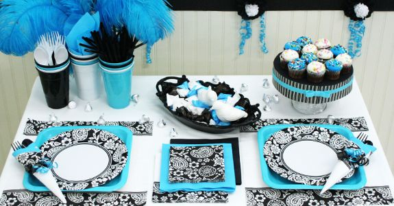 blue and silver party theme | Find Black and White Paisley ...