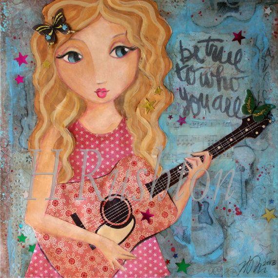 Guitar Girl Art, Musician Art, Music Art, Mixed Media Art,  Folk Art, Shabby Girls Decor - 8 x 8 on Etsy, $18.00