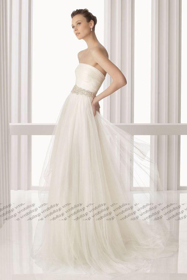 エンパイア ウェディングドレス ビスチェ コートトレーン ネッティング アイボリー 023166037002