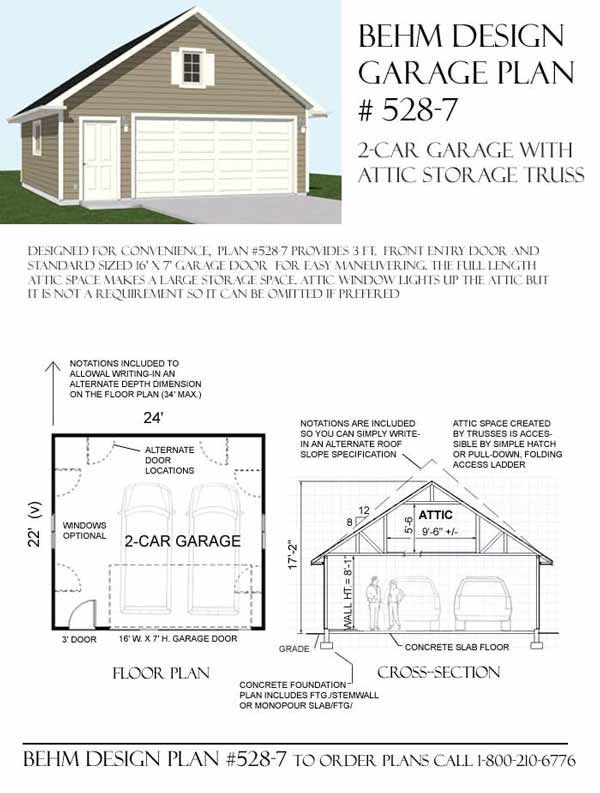 Two car garage with attic truss roof plan 528 7 24 39 x 22 for 1 5 car garage plans