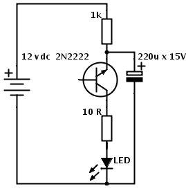 Pisca-pisca de LED com um transistor Simples e Barato