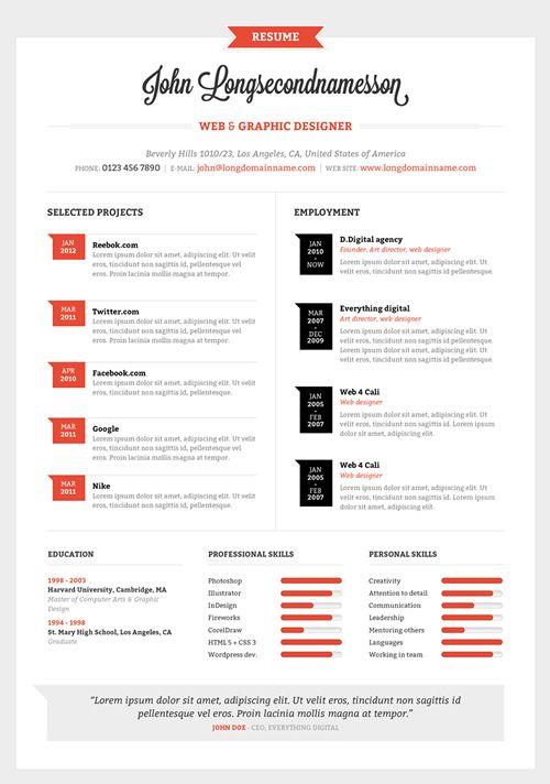 Resume template by ~mareklevak on deviantART