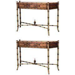 For Sale On   Pair Of Faux Bamboo Painted Console Tables Crowned With An  Inset Marble Top And Supported By Four Legs And An Intersecting Stretcher.