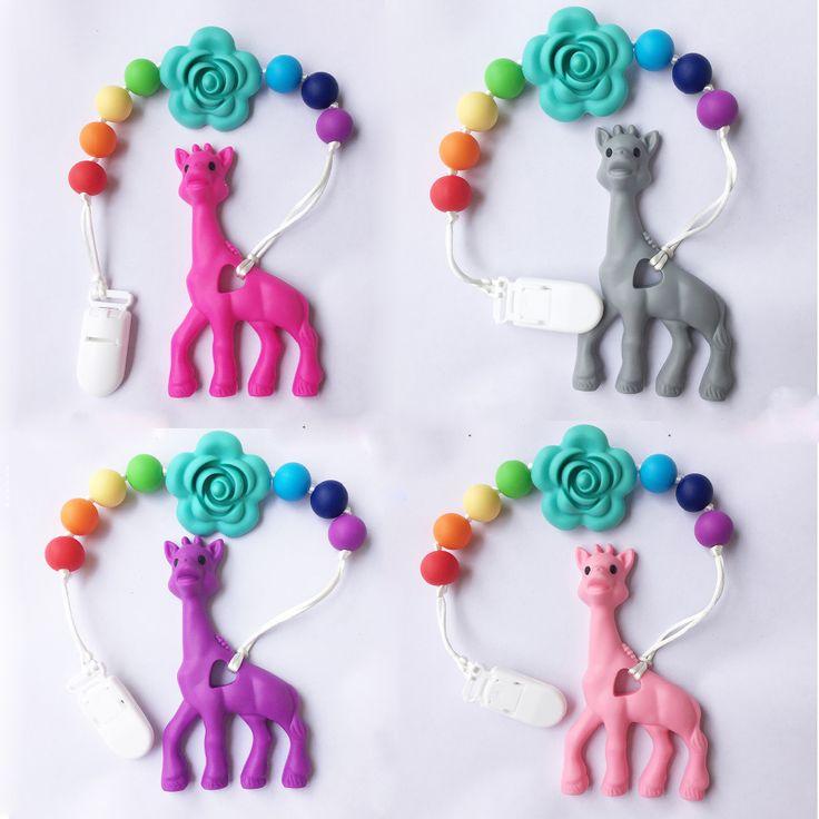 Siliconen Giraffe Baby Tandjes fopspeen ketting, Giraffe tandjes rammelaar Ketting, silicone bijtringen met fopspeen clip Ketting