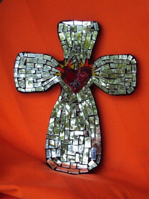 Mosaic Mirror Cross by DeniseMosaics on Etsy, $45.00