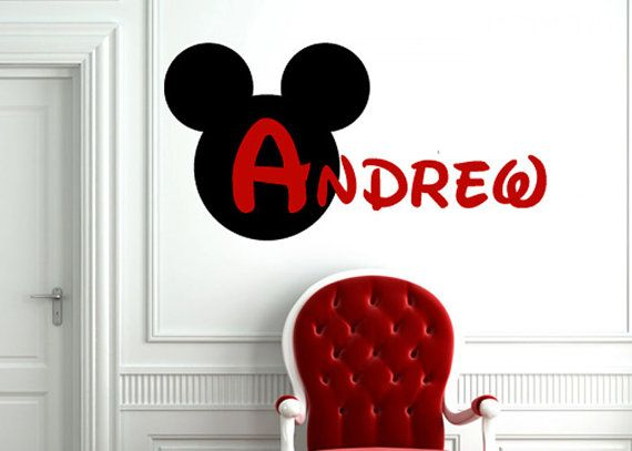 Items Similar To Mickey Mouse Silhouette Monogram Personalized   Children  Bedroom Vinyl Wall Word Decal Art On Etsy