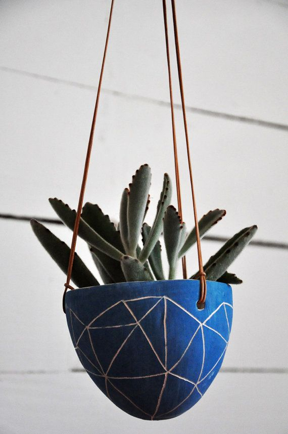 Bright Blue Hanging Planter w/ Hand-Carved Interconnected Triangles / Sgraffito Succulent Planter in Royal Blue / Cactus Pot