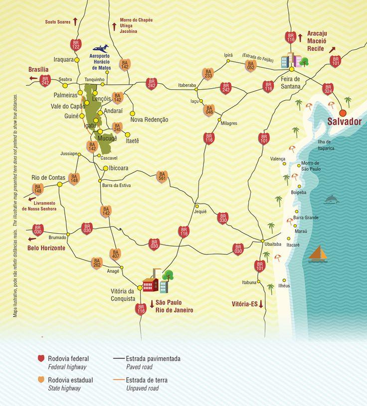 Mapa e Acesso | Guia Chapada Diamantina - Pousadas, hotéis da Chapada Diamantina, onde ficar e onde ir, passeios turísticos, trilhas, como chegar, mapa do Parque Nacional da Chapada Diamantina, dicas de viagem, cidades históricas, Lençóis, Vale do Capão, Igatu e Mucugê, fotos incríveis, guia de viagem completo da Chapada Diamantina