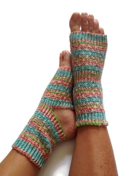 ON SALE Yoga Pedicure Socks in Saffron Hand Knit by MadebyMegShop, $30.00 #yoga #socks #pedicure #pilates #dance #striped #blue #pink #green #toeless