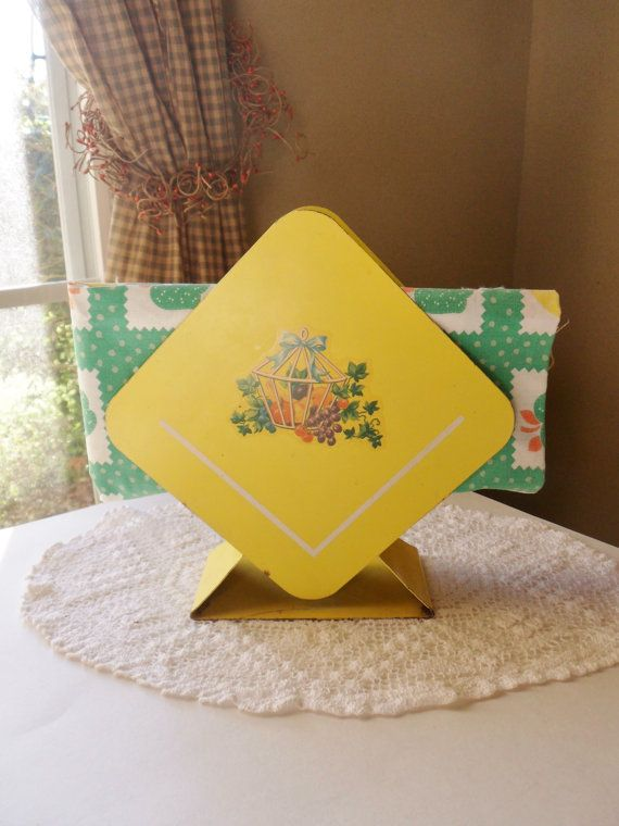 Yellow Metal Napkin Holder, Fruit and Ivy Chic Farmhouse Napkin Holder, 40s