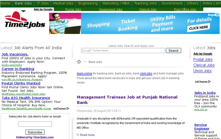 Apply online for banking jobs, bank po jobs, bank clerk jobs and bank manager jobs. Know about the latest bank vacancies in India and get your dream job in banking sector.