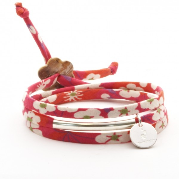 Bracelet Liberty 3 tours argent misty fushia