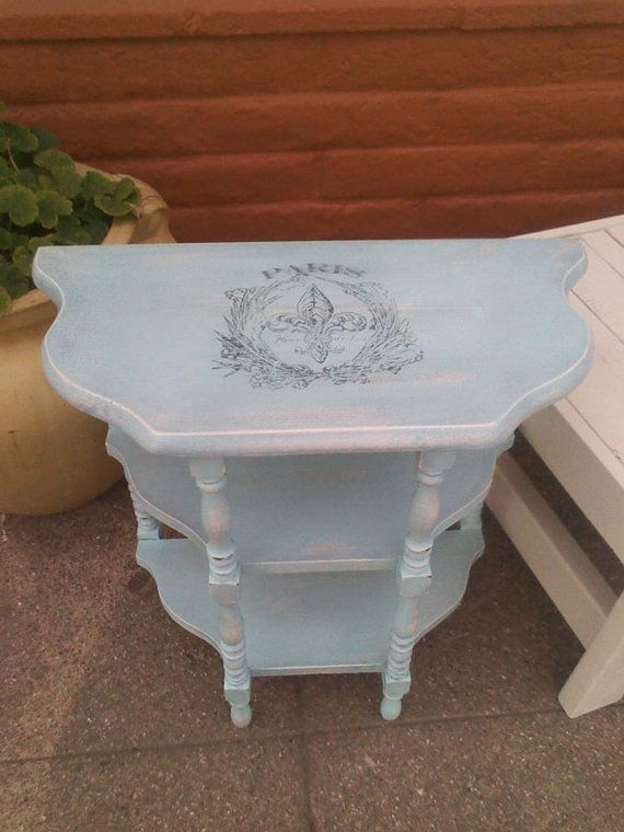 Vintage Shaby Chic  hand chalk painted Blue Paris Side Table gently distressed