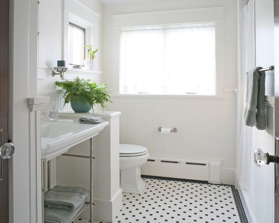Craftsman Bathroom design | add short wall & use for shelving/storage?