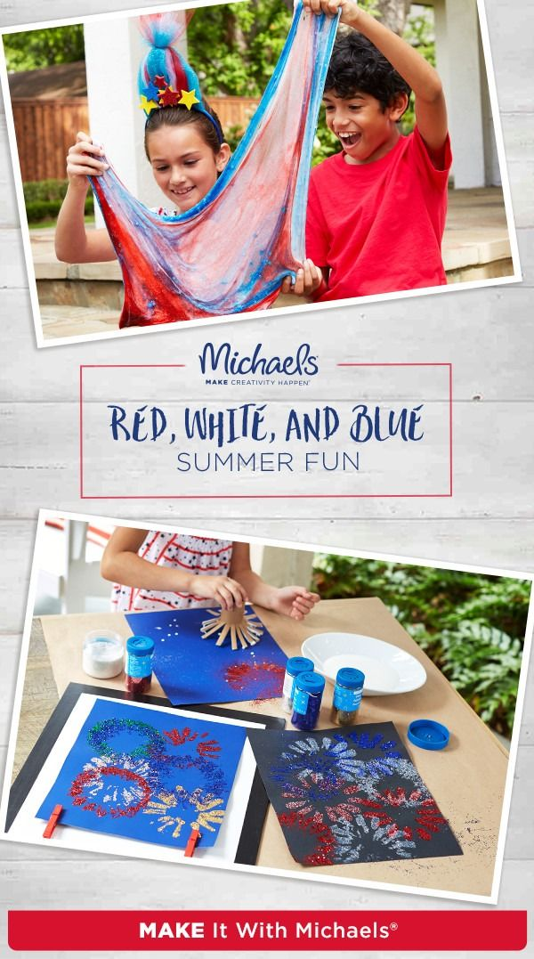 Nobody loves summer more than kids. And Michaels has thousands of ways to MAKE your kids' summer a blast! Whether it's decorating for the Fourth of July with a fireworks painting, or creating 'patriotic' red, white, and blue slime, celebrating summer has never been easier—or more fun! Just follow the complete how-to on Michaels project page!