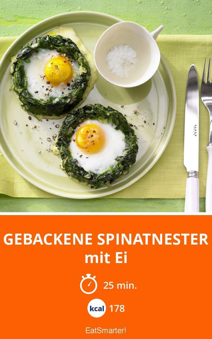 Gebackene Spinatnester - mit Ei - smarter - Kalorien: 178 Kcal - Zeit: 25 Min.   eatsmarter.de