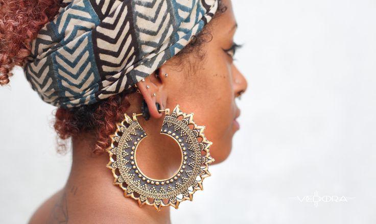 SALE 40% off Indian Saw Gold Tribal Ear Weights~Brass Hoop Earrings~Tribal Jewelry~Vedora~Belly Dance Earrings~Large Hoop Earrings