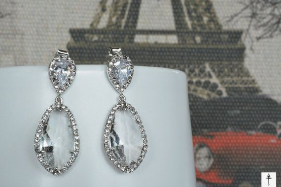 Silver Plated Clear Glass Pendant  Earrings Cubic by BYTWINS